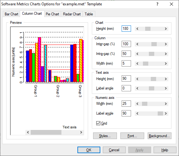 Software Metrics Options - DAC Manual
